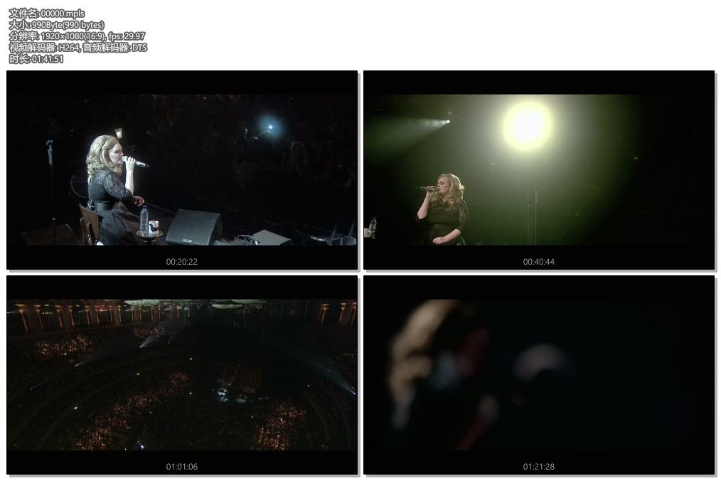 [蓝光原盘] 阿黛尔(Adele) 2011皇家亚伯厅演唱会《BDMV》
