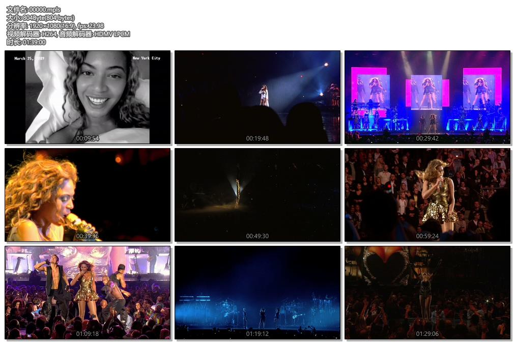 [蓝光原盘] 双面碧昂丝2010世界巡回演唱会《BDMV 34.4G》